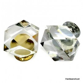 Crystal glass knob with chrome fitting 30 x 30 mm