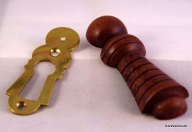 Key Hole Cover / Escutcheon 65 mm, Polished Sheet Brass with Walnut  timber cover
